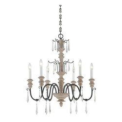 Savoy House - 6 Light 1 Tier Chandelier Madeliane Collection - Savoy House 1-4340-6 Madeliane 6 Light 1 Tier ChandelierWith the timeless beauty of a French antique, this six light chandelier's classic look is updated with a warm Wood and Iron finish, and crystal spear pendalogues. Designed by Pierce Paxton, this beautiful piece from the Madeliane collection is sure to be tomorrow's heirloom.Designed by Pierce Paxton, Madeliane is sure to be tomorrow's heirloom. With designs reminding one of the timeless beauty of a French antique updated with a warm Wood and Iron finish, and crystal spear pendalogues, this piece will surely bring a touch of class to your lighting application.Savoy House 1-4340-6 Features: