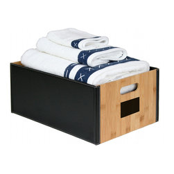 Great Useful Stuff - Bamboo Open Storage Box - Sometimes a simple open box is the perfect storage solution throughout the house. Whether you're filling it with extra guest towels, linens or even magazines, a chic bamboo and leatherette box will do the trick. Move it from room to room, depending on the need, or keep it tucked in a closet for easy access.