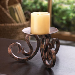Malibu Creations - Malibu Creations Santa Rosa Candle Stand - Put rustic elegance on display with the Santa Rosa Candle Stand on your tabletop or mantel. The curved candle platform perfectly showcases the stately beauty of a pillar candle, perched upon thick scrolling legs that add a fanciful flair. This iron candle stand is finished all over with a vintage patina that makes it an instant classic that you'll love for years to come. Place the pillar candle of your choice on top and set your room aglow with rustic elegance!