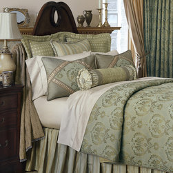 "Frontgate - Winslet Comforter - Super Queen, Hand Tacked - From Eastern Accents. Button-tufted and hand-tacked comforters have two layers of decorative fabric with polyester batting secured inside to prevent shifting. Winslet Comforter (77751):Super Queen: 96"" x 98"".Super King: 114"" x 98"".. Dry clean only recommended. Because this bedding is specially made to order, please allow 4-6 weeks for delivery.. The striking Winslet Bedding Collection brings romance to the master bedroom. Adorned in gentle silk and plush chenille, this dreamy bedding features muted hues of sea blue, beige, and aloe. Each exquisite piece is decorated in lavish trimmings and designed with ruched and banded details.  .  . Winslet Comforter (77751): Super Queen: 96"" x 98"". Super King: 114"" x 98""..  . . Made in Italy. Coordinates with the Winslet Bedding Collection."