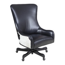 Hooker Furniture - Hooker Furniture Executive Swivel Tilt Chair EC420-099 - Leather: Nouveau Black with Black and White HOH