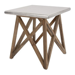 iMax - Mast Aluminum Clad Table - Bridge the gap with an architecturally inspired wood accent table clad in aluminum for an updated industrial look.