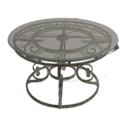 Uttermost - Uttermost Gilbertine Clock Table X-94342 - Antiqued, light green, garden style curled iron coffee table with quartz movement clock under clear glass top.