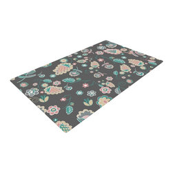 """Kess InHouse - Nika Martinez """"Cute Winter Floral"""" Gray Pastel Woven Area Rug (48"""" x 72"""") - Splash your floors with artwork! That's right, I said your floors. With these woven polyester jacquard area rugs adding a splash or pop of artwork is a breeze. Use it in just about any room, even the bathroom! These woven area rugs will leave all of your guests envious as they walk through your artistic home!"""