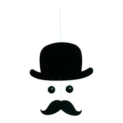 Flensted Mobiles - Mr. Bowlerman Mobile - A tribute to the good ol' days, this gent  features a dapper bowler atop his head. He'll add instant notoriety wherever he's displayed — whether in your home office, family room or den.