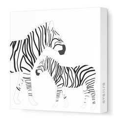 "Avalisa - Animal - Zebra Stretched Wall Art, 12"" x 12"", Black and White -"