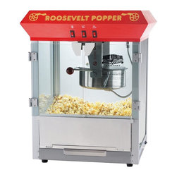 Great Northern - Red Roosevelt Eight Ounce Antique Popcorn Machine - Bar Style - Tempered Glass. Old maid drawer. Deluxe model with 3 position control switch instead of the 2 position; 860 watts instead of 640 (Commercial Quality). Switches include: spot light warmer, stirrer and pot heater; heated warming deck. Built-in warmer light; popcorn scoop, reject kernel tray and kernel/oil scoop included. .  8 Ounce Kettle. Warming Deck to keep the popcorn warm and fresh. 3 Switch Design. Thicker Glass: -- 40% thicker than our competition. Premium Grade Steel --30% thicker than our competition. Richer Color -- Premium paint and enhanced colors. Heavy-duty powder coated steel and stainless steel construction; cleans up with water. Makes roughly 3 gallons of popcorn per batch; minor assembly required. 110V / 860Watts. Top Machine is 25 in. H x 21' L x 18 in. D (45 lbs)These commercial quality machines feature stainless steel food-zones, easy cleaning stainless steel kettles, heated warming decks, old-maid drawers (for un-popped kernels), tempered glass side and back panels and an industry leading 8 ounce kettle operating on 860 watts. With the antique style design, you will be reminiscing about your early days at the ball game, carnival, or the movie theater. We have combined the best of both worlds--not only are you getting today's technology, you get an eclectic design with all the conveniences of the modern era. A couple of conveniences worthy of note include our exclusive old-maid drawer and tempered side panels. Our machine was designed with small perforations in the bottom stainless tray to allow the un-popped kernels to fall into the drawer. Simply rake the popped corn with a scoop and the old-maids disappear. We have sold thousands of these units to churches, schools, businesses, day care centers, varsity/PTA clubs, and more. Of course, our number 1 customer is the homeowner looking to add a theatrical effect to their home theater. Safer Packing -- double wall stock and extra packing to ensure a safe delivery Robust Design/Craftsmanship backed up by a 3 year warranty on the machine and a 30 day limited warranty on all consumable parts including kettles and/or light bulbs