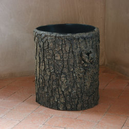 Pfeifer Studio Collection - This rustic waste bin looks like it is created from a hollowed tree stump, but it is actually handcrafted in fiberglass by an American artist. He first creates a cast of an actual stump and then applies fiberglass to the inside of the mold, creating a lightweight replica. The final step is hand painting the exterior to bring the details to life. The results are so accurate even someone with a discriminating eye will not be able to tell.