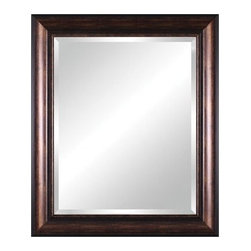 Art Effects - Vanity Beveled Mirror in Distressed Espresso Bronze Black - Features: -Finish: Distressed Espresso Bronze Black. -Framed beveled mirror. -Quality frame construction. -Ready to hang vertical or horizontal.