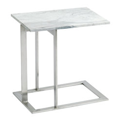 Dell Side Table, White Brown