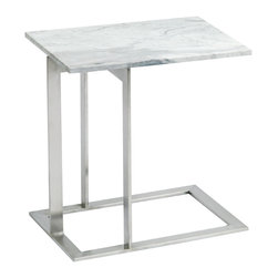 Nuevo Living - Dell Side Table, White Brown - What do you get when you pair an elegant marble tabletop with an L-shaped stainless steel frame? Maybe a new definition of modern chic. This marvelous mashup of styles has the class to complement your nice furniture and the functionality to fit almost anywhere. Choose the neutral white marble for overall lightness or sleek black marble for extra contrast.