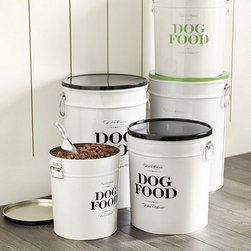 "Ballard Designs - Bon Chien Food Canister - 40 Lb - Made of molded steel. Lithographed design. Double handles for easy carrying. Metal scoop inlcuded. Bon Chien is French for ""good dog."" And when it comes to dry dog food storage, this handsome canister is all about good taste. Designed to hold a standard 40-lb bag, the tight fitting lid helps keep food dry and fresh.Bon Chien Pet Food Canister features:. . . ."