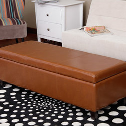 Warehouse of Tiffany - Warehouse of Tiffany Sharon Faux Leather Storage Bench in Toffee - The Sharon brown leather storage bench made by Warehouse of Tiffany is a stylish and functional piece. The bench is covered with durable faux leather and its legs are made of oak. The top of the bench opens up to reveal storage space.