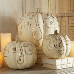 Horchow - Three Jeweled Ivory Pumpkins - Introduce some glamour into your fall decorations with these ivory pumpkins accented with sparkling jewels. The ideal table centerpiece or a lovely way to spruce up a foyer. Handcrafted of resin and beads. Hand painted. Sold as a set of three. Set i...