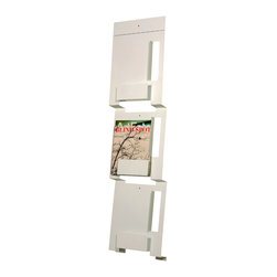 Blu Dot - Blu Dot Wall Mount Magazine Rack, White - If you can fold, you can be organized. From flat to fabulous in no time. Each piece is available in gun metal, fire engine red and white. Think of it as functional origami without paper cuts.