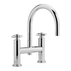 Hudson Reed - Stylish Deck Mounted Bath Filler Tub Faucet With Swivel Spout & Cross Handles - This stylish Hudson Reed deck mounted tub filler features a clean, modern design to enhance any bathroom. Constructed from solid brass with a chrome finish this high quality tub filler incorporates a swivel spout.