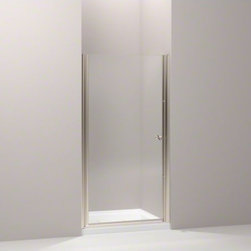 """KOHLER - KOHLER Fluence(R) pivot shower door, 65-1/2"""" H x 37-1/2 - 39"""" W, with 1/4"""" thick - With a frameless, versatile design and Crystal Clear glass, the Fluence pivot shower door adds contemporary style to your shower. The door allows 1-1/2-inch adjustability for out-of-plumb installations and can be installed to open to the left or right to fit the layout of your room."""