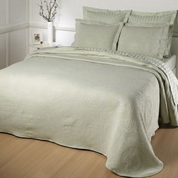 Kensington Bedspread - Elegant matelasse bedspread and sham is woven in the European tailored style. The blend of 80% pure cotton and 20% polyester ensures softness, long wear and washability.