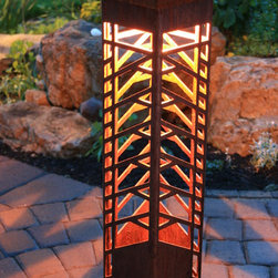 FLW Tree (6x6 Bollard) Deluxe Design - Frank Lloyd Wright inspired design!  Design adaptations and photos by Attraction Lights, Lyle Braund
