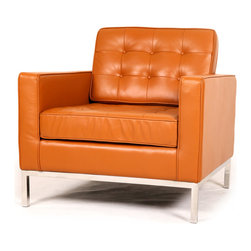 Kardiel Florence Knoll Style Arm Chair, Caramel Aniline Leather - The Florence Knoll Sofa, Chair and Loveseat is a design icon. The original design was conceived in 1956 by Florence Knoll, a world class architect and designer. It is a relatively simple design as it was originally meant to complement the classic innovations of Saarinen and Bertoia. The Knoll philosophy of furniture design solves practical and aesthetic design problems. The philosophy results in minimalist beauty, lasting durability and luxurious comfort in one complete package. It is well known that Knoll studied and collaborated with Mies Van Der Rohe. Knoll designed the classic trio using a durable stainless steel frame with minimal materials. Cubic cushions featuring compressed buttons in a purposeful and logical layout provide style and comfort to the supporting thin armed, minimalist frame. Do you notice the similarities in design philosophy to the Mies Van der Rohe's Barcelona Chair? The Knoll Sofa, Love and Chair is becoming even more popular as its minimalist yet functional de