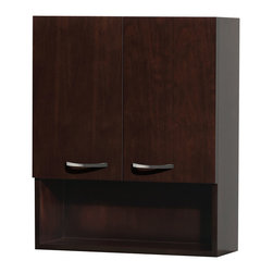 Wyndham - Maria Wall Cabinet in Espresso - The Maria wall cabinet is a great way to add a little storage space to your bathroom oasis. This ergonomic and elegant wall cabinet is designed to be placed over the toilet or used as extra wall storage just where you need it most. Soft-close doors ensure peace and quiet in your bathroom oasis, and brushed nickel hardware accents complete the look and compliment any modern bathroom setting.