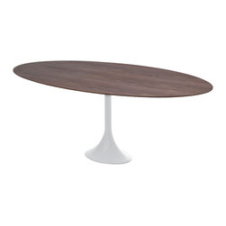 Nuevo Living - Echo American Walnut Dining Table by Nuevo - HGEM114 - The engineered wood top of the Nuevo Echo Dining Table provides a beautiful contrast with the aluminum base, turning this table into a lovely centerpiece for your dining room. Available in your choice of finish, this table is a unique blend of traditional and modern designs, making it an eye-catching conversation piece you'll be proud to show off. This roomy table seats four comfortably.