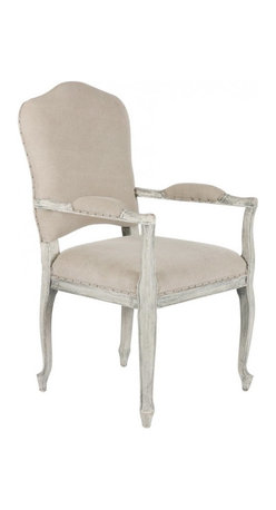 "Aidan Gray - Aidan Gray Furniture West Painted Dining Arm Chair Set of 2 - Classic and distinctive, the Aidan Gray collection brings to life a passion for all things architectural and time worn. The noble presence of the transitional West arm chair lends dining rooms a stately air. Beige cotton upholstery juxtaposed with a detailed oak wood frame finished in Stone Gray results in a chic neutral aesthetic, while an elegantly curved back and round nailhead trim offer sophisticated finishing touches. Chair features a foam cushion with medium high density. 22""W x 24""D x 40""H. Seat: 19""H."
