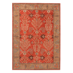 Jaipur Rugs - Transitional Oriental Pattern Red /Orange Wool Tufted Rug - PM51, Red & Orange, - The Poeme Collection takes traditional designs and re-invents them in a palette of modern, highly livable colors. Each design is made from premiere hand-spun wool and crafted with precision for the look and feel of a hand-knotted rug, at the more affordable cost of a hand-tufted. Poeme will effortlessly coordinate individual design elements to finish any room.