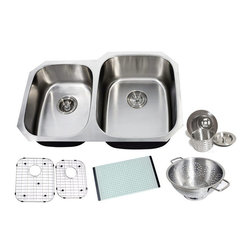 Chef - Chef Series 32 Inch Premium Undermount Double Bowl Kitchen Sink & ACCESSORIES - Chef Series 32 Inch Premium 16 Gauge Stainless Steel Undermount 40/60 Double Bowl Kitchen Sink Value Package. Sink Comes with Matching Protective Grid Set, Glass Cutting-board, Deluxe Basket Strainer and Deluxe Salad Bowl! Full 16 Gauge Stainless Steel Construction. Satin Polished Stainless Steel Finish.