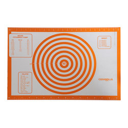 Casabella - Orange Large Baking & Pastry Mat - Made of high-quality European silicone with reinforced edges, this baking and pastry sheet features convenient measuring marks and conversion charts. The nonskid properties make it a handy work area, while the heat-resistant design is oven-safe to boot.   24'' W x 16'' H Silicone Dishwasher safe Imported