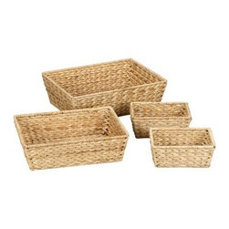 Household Essentials Banana Leaf Baskets - Set of 4 - Natural - Find strength in numbers with this set of four Household Essentials Banana Leaf Baskets - Natural. Put one in the bathroom for extraneous cotton balls. Place one in the kitchen to hold tasty treats. Maybe the computer desk needs organizing—plop one down and put all those pens in their place! The simple rectangular design of these banana leaf wicker baskets allows for a multitude of uses. It's like controlling your own organization army. Feel the power!About Household Essentials.Household Essentials is a bold bright and innovative company working hard to bring you the foundations and modern innovations of laundry and storage essentials. Over 200 years of experience provide the company with the vision necessary for creating the perfect products for you and the credentials worthy of winning Cradle to Cradle's Silver Certification. Let Household Essentials accompany you into the future while offering you the means to have a wonderfully efficient home today.