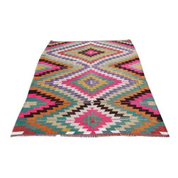 """Pre-owned Multicolored Bohemian Turkish Kilim 6'7"""" x 8'5"""" - This is bohemian kilim rug comes from tribal areas of Southern Turkey, an area rug found in a dowry chest with no sign of use. It is a 100% handwoven rug woven on wooden loom by flat weave. It was made of finest animal fiber that of wool, on organic cotton fringes. All the fibers were colored with vegetable dyes in the area... It is a vintage item approximately 60 years old.    Care and Maintenance:  Regular vacuum cleaning and/or shaking the rug will remove loose dirt and fluff pile.  Immediate attention is required in case of spills. Liquids should be blotted with a clean undyed cloth, which is to be pressed firmly all around for maximum absorption.    Note from seller: all our rug's are handmade, professionally washed before listed & ready for use. Please kindly note that; the image color may differ from the actual item colors and colors may differ from screen to screen. Make sure to see our other listings…Good luck and happy shopping!"""