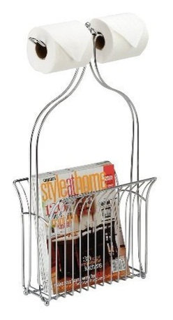 Toilet Caddy - Toilet Butler Toilet Caddy Dual Tissue Dispenser with Magazine Rack, Chrome - Great for narrow spaces, the Toilet Butler offers style and function all in one compact caddy! With standard room for two toilet tissue rolls, you can choose to use the spacious basket as a magazine rack or to store extra tissue. This toilet caddy is perfect for use in any bathroom.