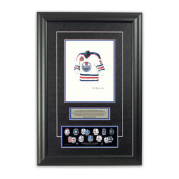 "Heritage Sports Art - Original art of the NHL 1989-90 Edmonton Oilers jersey - This beautifully framed piece features an original piece of watercolor artwork glass-framed in an attractive two inch wide black resin frame with a double mat. The outer dimensions of the framed piece are approximately 17"" wide x 24.5"" high, although the exact size will vary according to the size of the original piece of art. At the core of the framed piece is the actual piece of original artwork as painted by the artist on textured 100% rag, water-marked watercolor paper. In many cases the original artwork has handwritten notes in pencil from the artist. Simply put, this is beautiful, one-of-a-kind artwork. The outer mat is a rich textured black acid-free mat with a decorative inset white v-groove, while the inner mat is a complimentary colored acid-free mat reflecting one of the team's primary colors. The image of this framed piece shows the mat color that we use (Medium Blue). Beneath the artwork is a silver plate with black text describing the original artwork. The text for this piece will read: This original, one-of-a-kind watercolor painting of the 1989-90 Edmonton Oilers jersey is the original artwork that was used in the creation of this Edmonton Oilers uniform evolution print and tens of thousands of other Edmonton Oilers products that have been sold across North America. This original piece of art was painted by artist Tino Paolini for Maple Leaf Productions Ltd.  1989-90 was a Stanley Cup winning season for the Edmonton Oilers. Beneath the silver plate is a 3"" x 9"" reproduction of a well known, best-selling print that celebrates the history of the team. The print beautifully illustrates the chronological evolution of the team's uniform and shows you how the original art was used in the creation of this print. If you look closely, you will see that the print features the actual artwork being offered for sale. The piece is framed with an extremely high quality framing glass. We have used this glass style for many years with excellent results. We package every piece very carefully in a double layer of bubble wrap and a rigid double-wall cardboard package to avoid breakage at any point during the shipping process, but if damage does occur, we will gladly repair, replace or refund. Please note that all of our products come with a 90 day 100% satisfaction guarantee. Each framed piece also comes with a two page letter signed by Scott Sillcox describing the history behind the art. If there was an extra-special story about your piece of art, that story will be included in the letter. When you receive your framed piece, you should find the letter lightly attached to the front of the framed piece. If you have any questions, at any time, about the actual artwork or about any of the artist's handwritten notes on the artwork, I would love to tell you about them. After placing your order, please click the ""Contact Seller"" button to message me and I will tell you everything I can about your original piece of art. The artists and I spent well over ten years of our lives creating these pieces of original artwork, and in many cases there are stories I can tell you about your actual piece of artwork that might add an extra element of interest in your one-of-a-kind purchase."