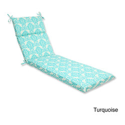 Pillow Perfect - Pillow Perfect 'Luminary' Outdoor Chaise Lounge Cushion - Lounge around in style and comfort on this weather and UV-resistant outdoor chaise lounge cushion with ties. Infused with a damask pattern, this chaise lounge cushion includes a new and improved polyester fiber filling.