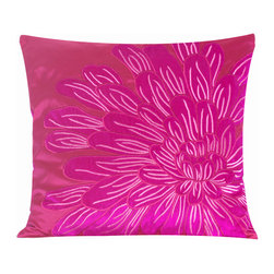 Vintage Maya - Kyoto Embroidered Pillow Cover - Enjoy the heavenly feeling of silk against your skin with this vibrant pink pillow cover. So soft and luxurious, you just might mistake those flower petals for the real thing.