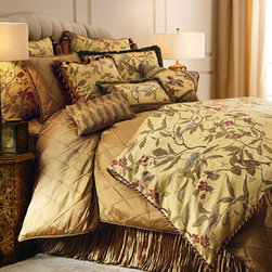 """Austin Horn Collection - Austin Horn Collection Fringed Bird Pillow with Shirred Silk Frame, 14"""" x 20"""" - Birds and blossoms on a field of gold distinguish these linens by Austin Horn Collection. Duvet covers are finished with cording and tassels. Duvet covers, shams, and accent pillows all have zip closures. Made in the USA of polyester/ rayon and cotton/p..."""