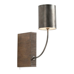 Arteriors Home - Flynn Wall Sconce - Flynn Wall Sconce features an ambidextrous metal arm and shade finished in aged iron and weathered wood base. Can be set on a bookshelf between your favorite authors or mount on the wall as a wall sconce. One 40-watt, 120 volt B10 candelabra base incandescent bulb is required, but not included. Includes 8 foot cord and plug. On-off switch on cord. Dimensions: 5W x 17H x 15D.��UL listed.