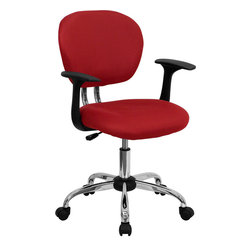 Flash Furniture - Flash Furniture Mid-Back Red Mesh Task Chair with Arms and Chrome Base - This value priced mesh task chair will accommodate your essential needs for your home or office space. This chair will add a splash of color to your office for a non-traditional look. Chair features a breathable mesh material with a comfortably padded seat.