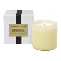 Lafco Chamomile Lavender - Master Bedroom - Created with natural essential oil-based fragrances, this candle is richly optimized for a 90-hour burn time. The clean-burning soy and paraffin blend is formulated so that the fragrance evenly fills the room. Each hand blown vessel is artisan crafted and can be re-purposed to live on long after the candle is finished.