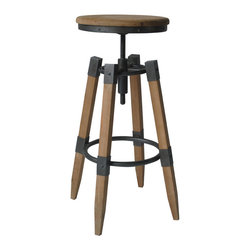 #N/A - Quad Pod Adjustable Stool Natural - Quad Pod Adjustable Stool Natural. Adjustable seat height. Metal bar to rest feet on. Adds focal point to any room