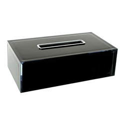 Gedy - Thermoplastic Resin Square Tissue Box Cover in Black Finish - Complete your decorator personal bath with this high-quality kleenex box cover from Gedy. This modern & contemporary, high-end kleenex box holder is manufactured in and imported from Italy with thermoplastic resin and available in black. From the Gedy Rainbow collection. Gedy free-standing kleenex box holder. From the Rainbow collection. Luxury & high-quality, made in thermoplastic resin and coated in black. Manufactured in and imported from Italy.