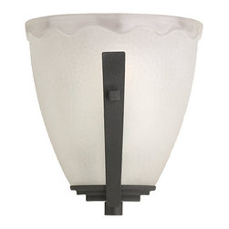 Sea Gull Lighting - Blacksmith One-Light Wall Sconce - - The Sea Gull Lighting Decorative Wall Sconce one light wall sconce in blacksmith offers shadow-free lighting in your powder room, spa, or master bath room. These wall sconces feature decorative glass that will enhance any setting while providing generous illumination. They come with the added benefit of easy installation and durable construction for quality that lasts  - Easily converts to LED with optional replacement lamps  - Backplate Dimension: Width: 4.25-Inch; Height: 60.06-Inch; Center of Box Up: 3-Inch; Shape: Irregular  - Wire/Cord Length (Inches): 6.5  - Shade/Glass Description: Hammertone glass diffuser  - Bulb not included Sea Gull Lighting - 41640-839