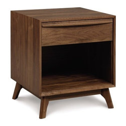 "Copeland Furniture - Catalina 1 Drawer Nightstand - Combining the clean, unadorned lines of the International Modernists with organic and geometric forms, the Catalina Collection is suggestive of the works of Americas Mid-Century Modern designers. All pieces are crafted in solid American black walnut or maple hardwood. Features: -Clear finish that is silky, smooth to the touch and still tough enough to stand up to the wear and tear of daily family activities. To preserve the beauty of the finish, simply clean the surface of the furniture with a soft damp cloth and then dry it thoroughly. Care over the years to come will not require oil, polishes, or cleaners.. -Adjustable wooden glides so that the drawers will open and close smoothly throughout the life of the furniture piece.. - Natural hardwoods have specific characteristics that make them warm and appealing to the eye. Swirls, knots and burls are some characteristics that contribute to the natural beauty of finely crafted hardwood furniture. Hardwoods oxiodize, or change color, from exposure to direct light. The color of the wood will deepen over time and take on a warm glow and soft patina.. -Dimensions: 22"" H x 18.5"" W x 18"" D."