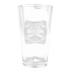 "Crystal Imagery, Inc. - Engraved Glasses, Skull and Cross Bones Set of Pint Glasses - Engraved skull and cross bones pub glass, pint beer glass is a fun badass gift! Deeply carved using our sand carving technique, each of our custom pint or pub glasses are meticulously custom made to order making them the perfect gift for those seeking unique gift ideas for beer lovers - men and women alike. At 5.75"" high by 3.3"" wide, our custom stemless wine glass holds 16 oz of your favorite wine in style. A custom engraved pint or pub glass will be the favorite gift at any special gift giving occasion. Personalized or monogrammed pint or pub glasses are a unique and special bridal shower gift, engagement gift, wedding gift or engagement gift. Also great gift idea for girlfriend or wife gifts, boyfriend or husband gifts, retirement gift or birthday for the classy man or woman who has everything. Dishwasher safe. Made in the USA. SOLD AS A SET OF 4 DRINKING GLASSES."