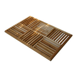 Teak Daels - Mat: Teak Basket Weave Floor Mat - Rubber pads are attached to the bottom of teak bath mats to assure the security against slippage. Handcrafted in Indonesia from sustainably harvested teak. perfect for indoors or outdoors. Meticulously hand crafted door mat each machined slat is carefully assembled in traditional method.
