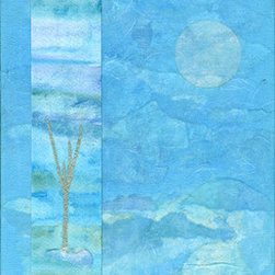 """Breathe: Sky (Original) by Laurie Kmen - """"Breathe: Sky"""" is created from layers of handmade paper, acrylic and watercolor... to evoke a feeling of fresh air and breathing space."""