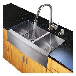 Vigo Industries - Kitchen Sink and 15.13 Faucet Set - Includes soap dispenser, matching bottom grid, sink strainer, all mounting hardware for faucet and hot-cold waterlines