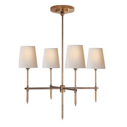 "Bryant Small Chandelier | Circa - By Thomas O'Brien. Dimensions: 48""H x 26""W x 7""Round Canopy. Available in hand-rubbed antique brass, antique nickel, bronze, polished nickel, polished brass finish. Available with natural paper shade."