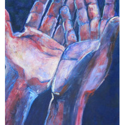 Gratitude (Original) by Daniel Kanow - Giving thanks and letting to. Hands open, electrified by life and acceptance reaching and offering in gratitude.